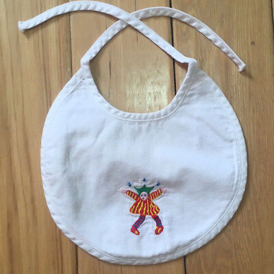 Christofle White Cotton Baby Bib, Embroidered Jester, Pre-Owned