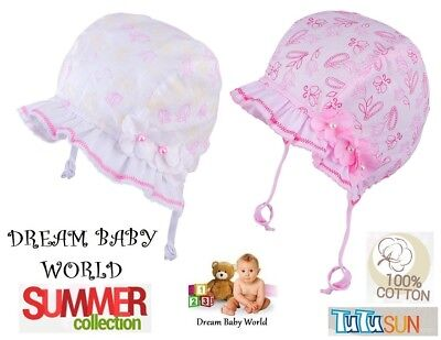 100% Cotton TIE UP SUN hat BONNET Summer BABY GIRLS Infant KIDS 0 - 9 months