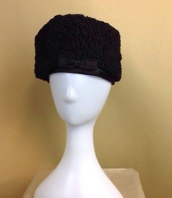 fe094ce4145 Vintage Christian Dior Hat Chapeaux 1950 s Black Wool   Satin Ready To Wear