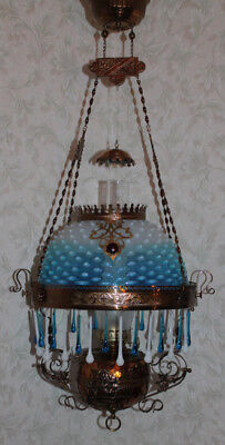 Victorian Parker Hanging Parlor or Library Kerosene Oil Lamp ~ VERY RARE SHADE