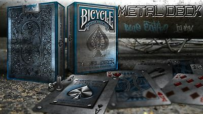 Bicycle Blue Metal Deck Rare Limited Edition Custom Playing Cards - Professional