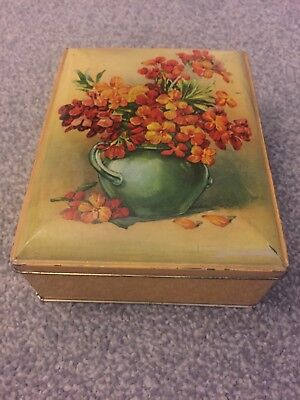 Vase of Flowers Collectable Vintage Tin ~ Gold Inlay ~ L17cm x W12.5cm x D5.5cm