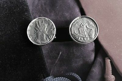 UNIQUE SET OF CUFFLINKS WITH GENUINE ANCIENT CERTIFIED ROMAN EMPEROR COINS.   Ni
