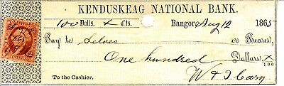 1865 Kenduskeag National Bank cancelled check, Bangor, Maine with revenue stamp