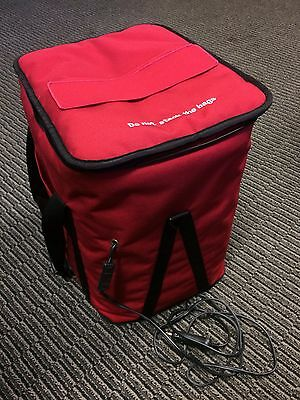 Electric Food Delivery Bag; red; rigid frame; tray inside; car plug; camping use