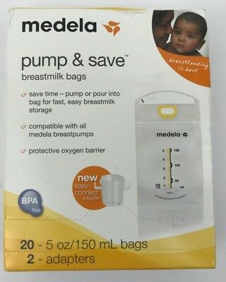 Medela Pump & Save Breast Milk Bags + Adapters 20 bags BPA Free FAST SHIPPING