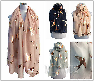 New Ladies Pastel Soft Scarf with Rose Gold Foil Big Swallow Bird Metallic GIFT