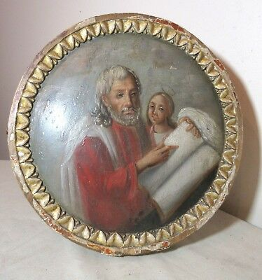 antique 18th century original Italian Saint Peter religious round icon painting