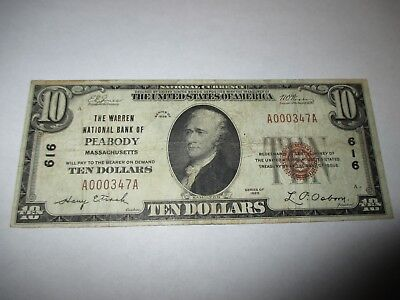 $10 1929 Peabody Massachusetts MA National Currency Bank Note Bill! #616 FINE!