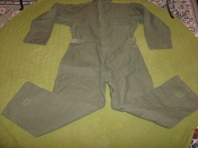 Mens Coveralls Military Mechanic Cotton Sateen Size Large Olive Green Euc Velcro