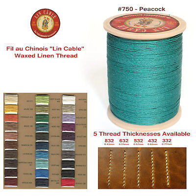 "Fil Au Chinois 50g ""Lin Cable"" WAXED LINEN thread #750 PEACKOCK, 5 sizes avail"