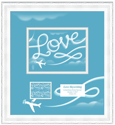 LOVE Skywriting stamp 2017 collectible framed artwork from USPS