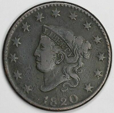 1820 1c Coronet or Matron Head N-12 Large Cent UNSLABBED