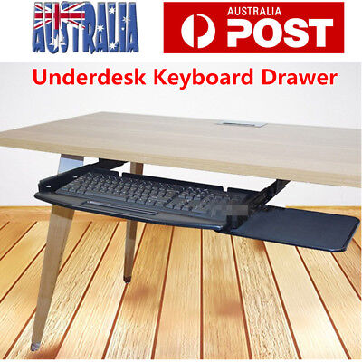 Keyboard Drawer Tray with Mouse Tray Under Desk Slider Runner for Home Office AU