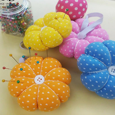 Lovely Sewing Needle Pin Cushion Pumpkin Shaped Holder Wrist Strap Craft Tool