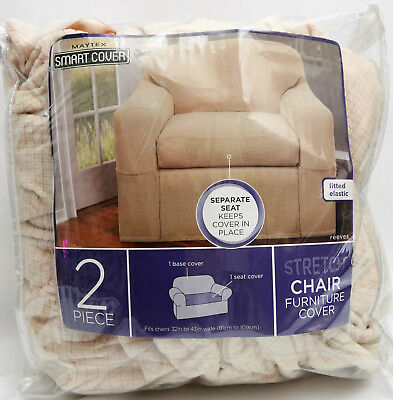 Excellent Maytex Stretch Reeves 2 Piece Chair Slipcover Natural Home Interior And Landscaping Eliaenasavecom