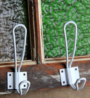 2 Shabby Hamptons WHITE Metal Wire Wall Coat Hooks Country Beachy Vintage Rustic