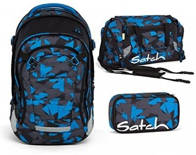 Satch by Ergobag?school backpack set 3PCs. Match Blue Triangle Pencil