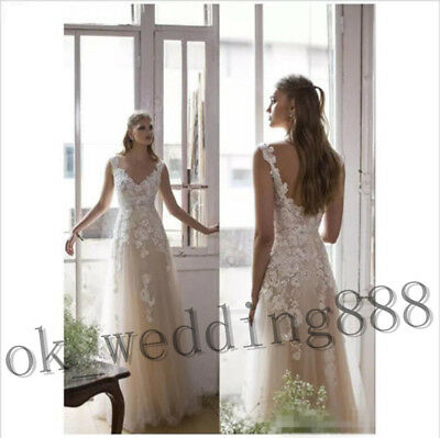 2018 New Sleeveless Beach Wedding Dress V-Neck Vintage Sexy Bridal Gown Custom