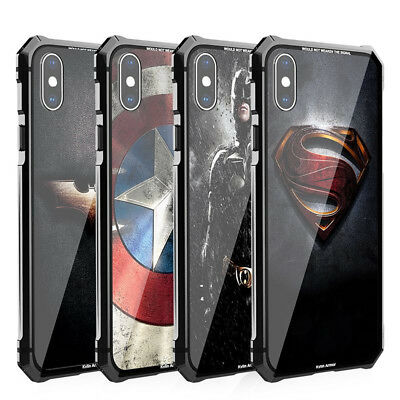 Durable Batman Superman Armoured Glass Metal Case Cover For iPhone X  8 Plus