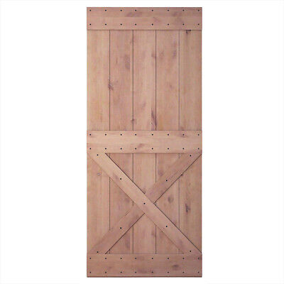 36in 84in Natural Knotty Alder Shiny Interior Barn Door (Disassembled),Lower x