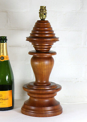 A Vintage Large Wooden Turned Table Lamp Beehive Antique Design