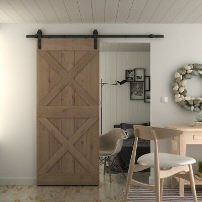 36in 84in Natural Knotty Alder Shiny Interior Barn Door (Disassembled),Double x