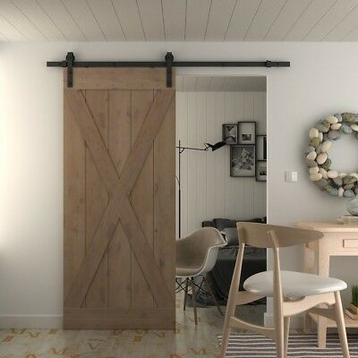 36in 84in Natural Knotty Alder Shiny Interior Barn Door (Disassembled),X-frame