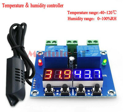 DC 12V Digital LED Dual Output Temperature and Humidity Controller thermostat UK