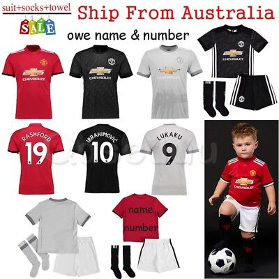 2018 Boys Football Shirt Soccer Jersey Kit Sport Suit Kids outfit Set 3-14Yr