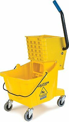 Portable Rolling Floor Cleaning Spin Mop Bucket W/ Side Press Wringer Yellow New