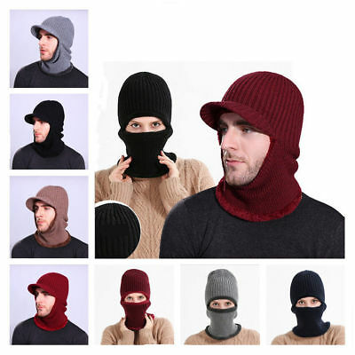 Mens Womens Winter Outdoor Neck Warmer Hat Balaclava Knitted Beanie Peaked Snood
