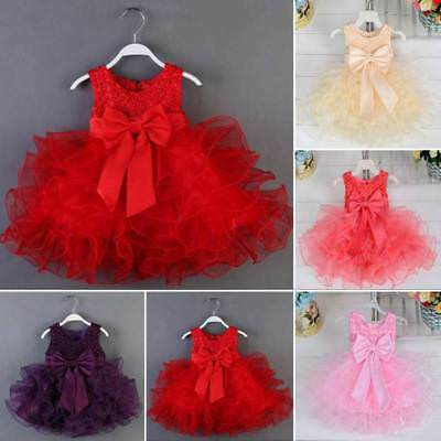 Newborn Flower Pageant Princess Dress Baby Girl Wedding Party Tutu Dress 0-3T
