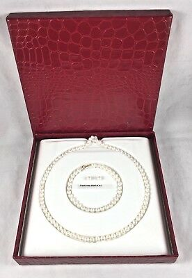 Beautiful Freshwater Pearls w/14Kt Gold Boxed Set Necklace,Bracelet&Earrings-New