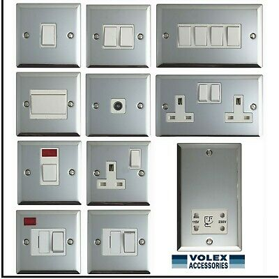 Volex Polished Chrome Light Switches and Electrical Sockets with White Finish