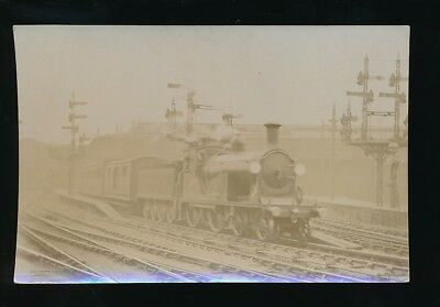 Railway LSW Portsmouth Express leaving Waterloo Station c1900s? RP PPC Pouteau