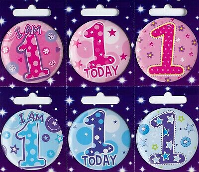 Age 1 1st Birthday Badge Boy Girl Small Childrens Party Gift Present