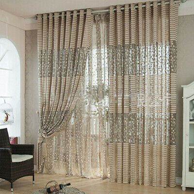 Door Window Home Decor Voile Tulle Valance Scarf Floral Leaf Sheer Curtains x 1