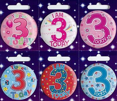 Age 3 3rd Birthday Badge Boy Girl Small Badge Childrens Party Gift Present