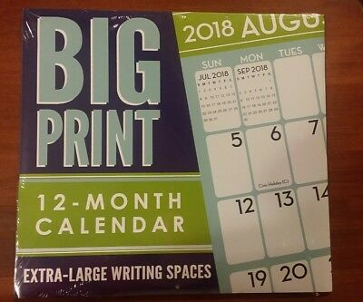 2018 Full Size Wall Calendar Big Print Large Writing Spaces Easy Read 12-Month