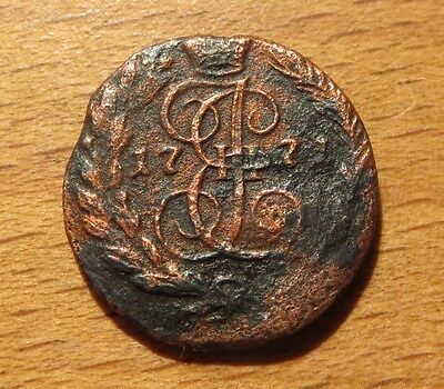 1 Old Russian coin Polushka ЕM  Полушка 1771 ЕМ  Catherine II Rare