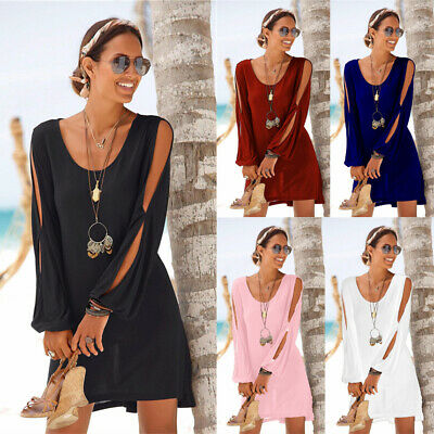 UK Womens V Neck Loose Holiday Long Sleeve Ladies Summer Beach Casual Dress 6-18