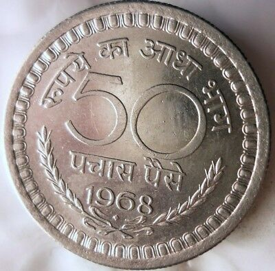 1968 INDIA 50 PAISA - High Quality Collectible - FREE SHIPPING - India Bin #C