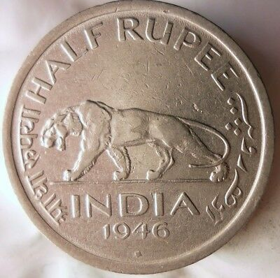 1946 INDIA 1/2 RUPEE - High Quality Collectible - FREE SHIPPING - India Bin #C