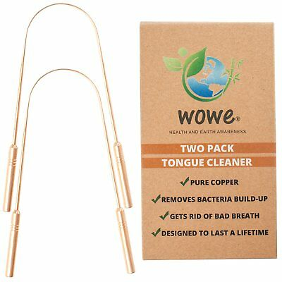 Wowe Tongue Scraper Cleaner (2 Pack) - Pure Copper Metal Get Rid of Bad Breath