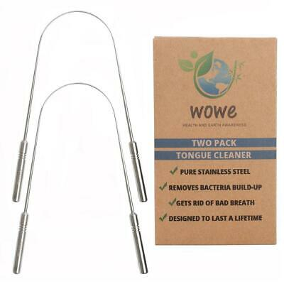 Wowe Tongue Scraper Cleaner (2 Pack) - Stainless Steel - Get Rid of Bad Breath