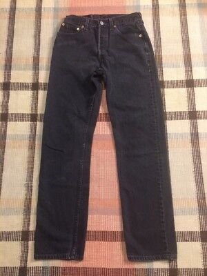 VTG Levi's 501 Made For Women Button Fly Black Denim Jeans Measure 28x31 USA!