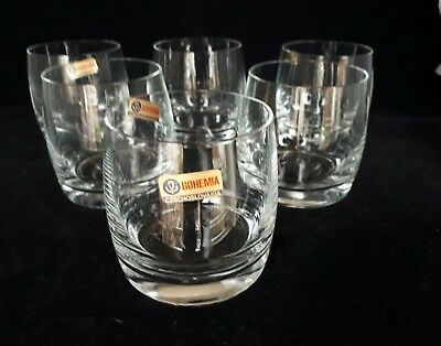 6 x Bohemian Clear  Crystal Whisky Tumblers Glasses (D12)