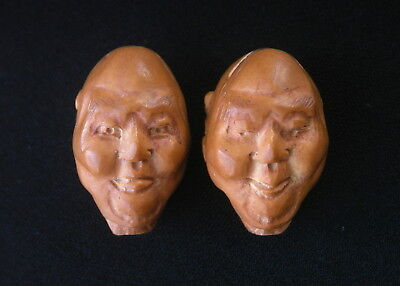 Two Chinese Fruit Nut Pit Carved Beads