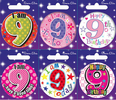 Age 9 9th Birthday Badge Boy Girl Small Badge Childrens Party Gift Present